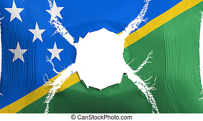 Solomon Islands flag with a hole, white background, 3d ...