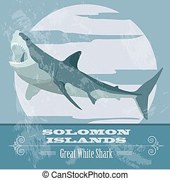 Solomon islands. Great white shark. Retro styled image....