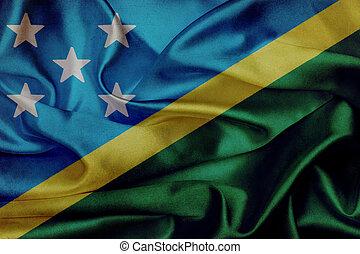 Solomon Islands grunge waving flag