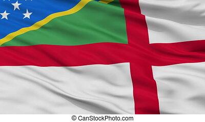Solomon Islands Naval Ensign Flag Closeup Seamless Loop -...