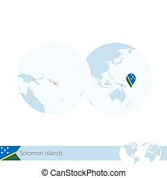 Solomon Islands on world globe with flag and regional map of...