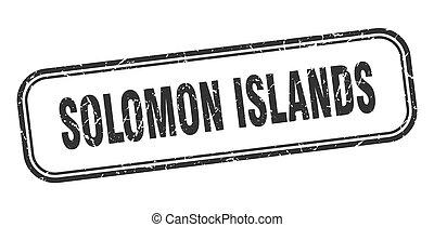Solomon Islands stamp. Solomon Islands black grunge isolated...