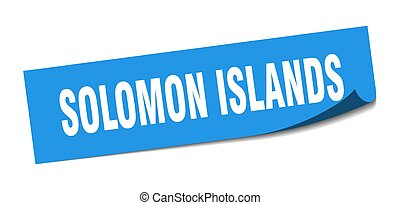 Solomon Islands sticker. Solomon Islands blue square peeler ...
