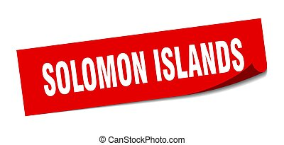 Solomon Islands sticker. Solomon Islands red square peeler ...