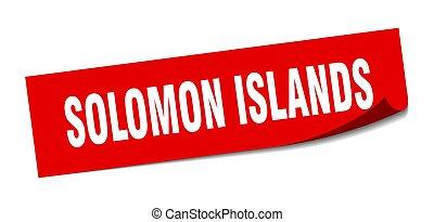 solomon, quadrato, peeler, sticker., isole, rosso, segno