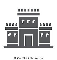 Solomon temple in jerusalem glyph icon, religion and hebrew,...