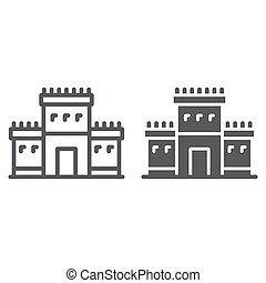 Solomon temple in jerusalem line and glyph icon, religion...