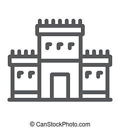 Solomon temple in jerusalem line icon, religion and hebrew,...
