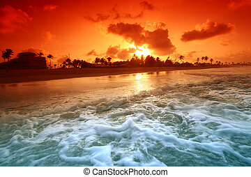 solopgang, havet
