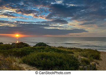 solopgang, hos, gylden, strand