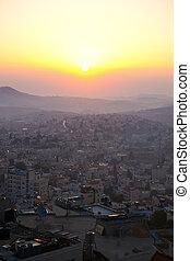 solopgang, ind, bethlehem, palæstina, israel