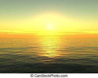 solopgang, på, hav