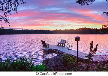 solopgang, på, sø