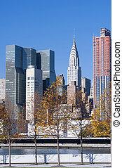 solopgang, skyline manhattan, byen, york, nye
