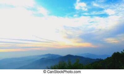 solopgang, timelapse, i, bjerg, heigh