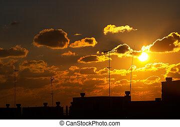solopgange, og, solnedgang