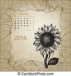 solros, årgång, hand, penna, artistisk, bläck, oavgjord, kalender
