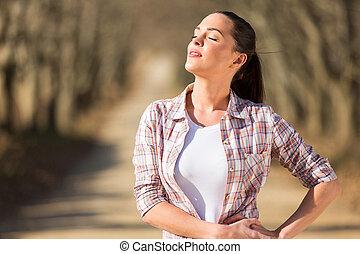 solsken, avnjut, kvinna