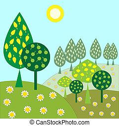 solsken, landskap, d, träd