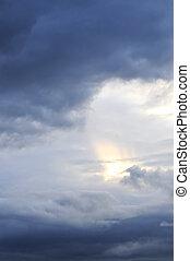 solsken, sky, stormig