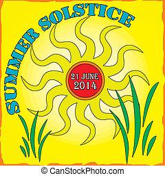 solstice, été, vecteur, illustration