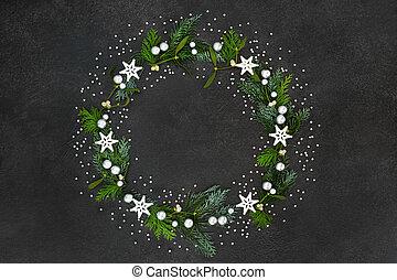 solstice, décoration, couronne, hiver, noël
