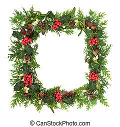 solstice, fond, hiver, frontière, verdure, traditionnel