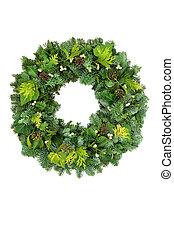 solstice, naturel, couronne, verdure, hiver