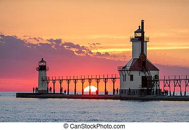 Solstice Sundown at St. Joseph Lighthouses - On the Summer...
