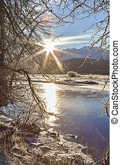Solstice Sunshine - Winter sunburst over the Chilkat river...