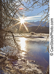Solstice Sunshine - Winter sunburst over the Chilkat river...