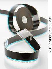 solto, 35mm, base, branca, bobina, película