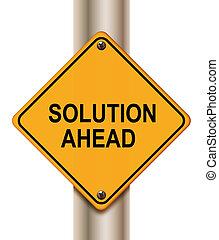solução, à frente