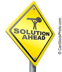 solução, à frente, resolva, problema