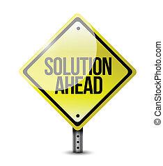 solução, à frente, sinal estrada, ilustração, desenho