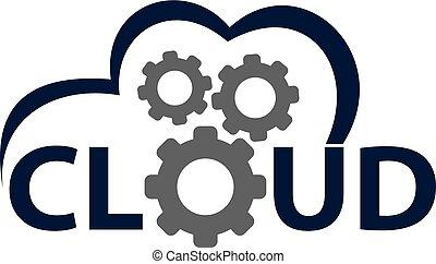 solução, vetorial, desenho, modelo, logotipo, nuvem