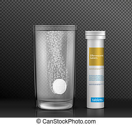 Effervescent round tablet dissolving with bubbles in glass of water standing on glossy surface near pill cylinder container with brand information realistic isolated on transparent background.