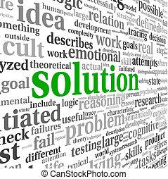solución, concepto, en, palabra, etiqueta, nube
