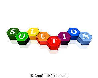 solución, en, color, hexahedrons