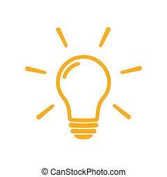 solución, lámpara, icono, bombilla, concepto, símbolo, idea, luz