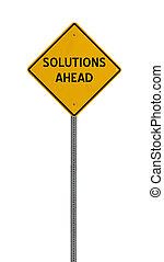 soluciones, adelante, -, camino amarillo, señal de peligro