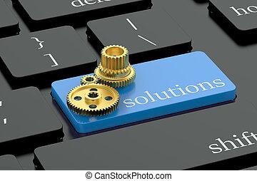 soluciones, concepto, en, azul, teclado, botón