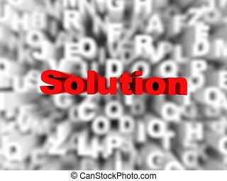 soluion, 単語, 活版印刷, 背景