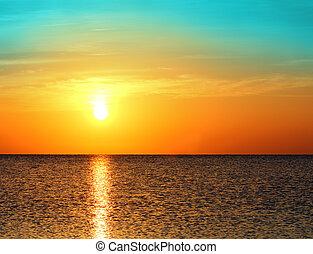 soluppgång, över, hav