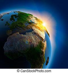 soluppgång, över, jorden, in, yttre rymden