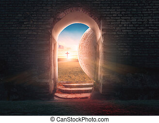 soluppgång, concept:, tom, kors, grav, bakgrund, påsk, kristus, jesus