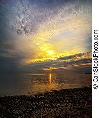 soluppgång, erie, insjö