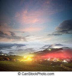 Soluppgång, förbluffande, hav, moln