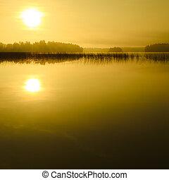 soluppgång, hos, den, insjö