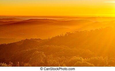 soluppgång, i fjällen, landskap